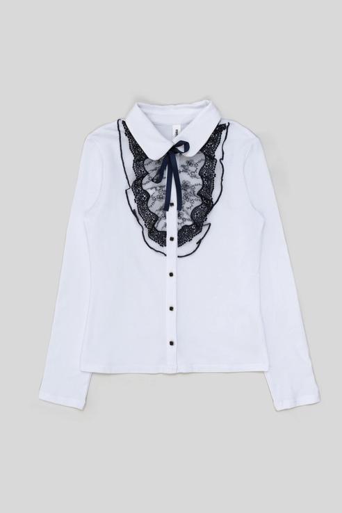 Трикотажная блузка с кружевной планкой Acoola 20240100050 цв.белый р.134 20240100050_белый