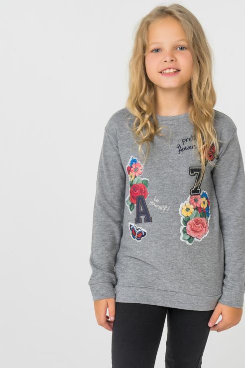 Купить 4462, Пуловер для девочки Mayoral, цв.серый, р-р 104,