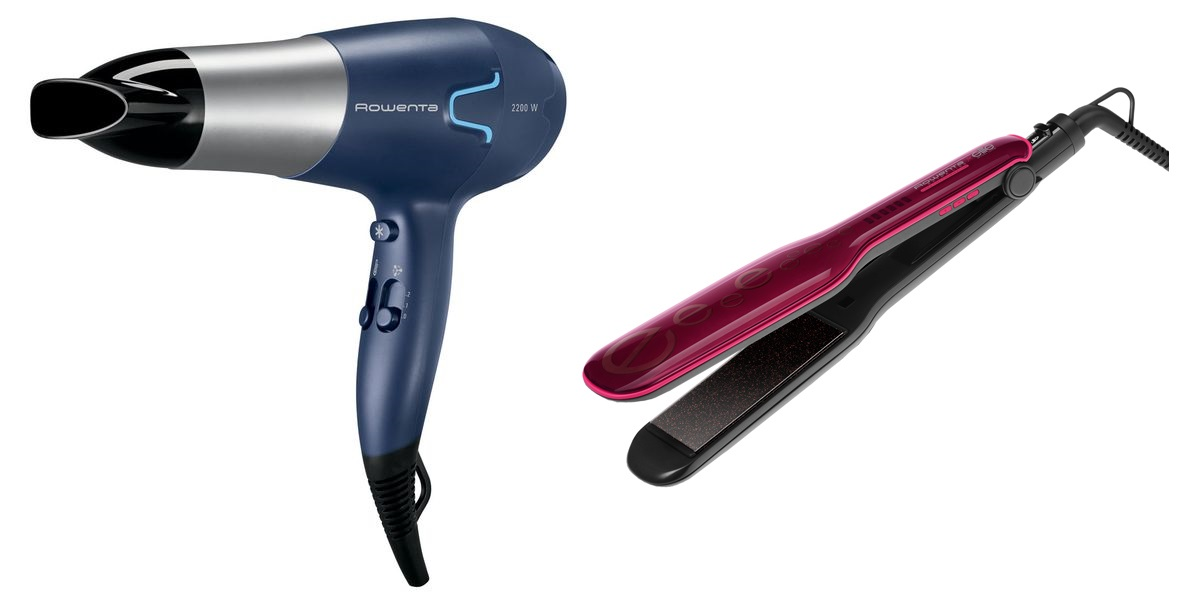 Комплект Фен Rowenta Essentials CV5610 + Выпрямитель для волос Rowenta SF4112F0 фото