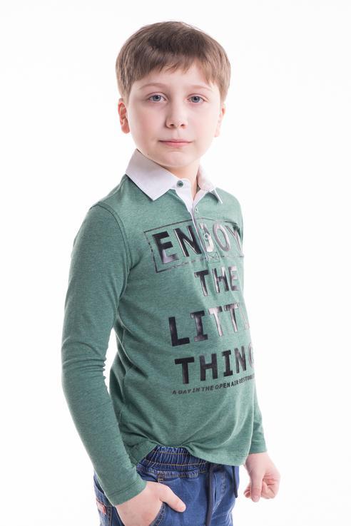 Поло для мальчика Gulliver, цв.зеленый, р-р 128