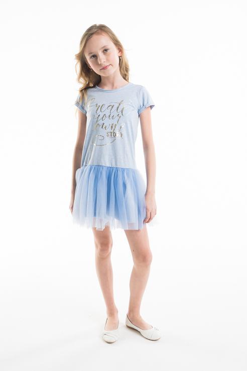 Купить 11805GKC5001, Платье для девочки Gulliver, цв.голубой, р-р 140,