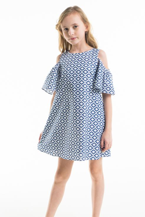Купить 11805GKC2501, Платье для девочки Gulliver, цв.синий, р-р 140,