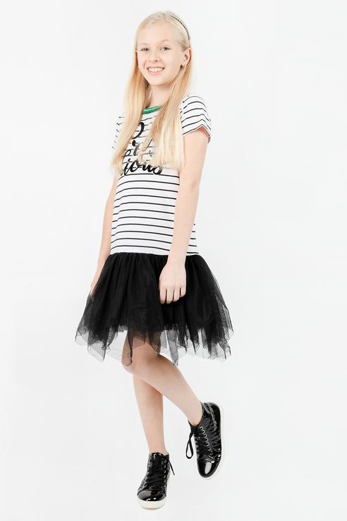 Купить 11908GJC5002, Платье для девочки Gulliver, цв.чeрный, р-р 134,