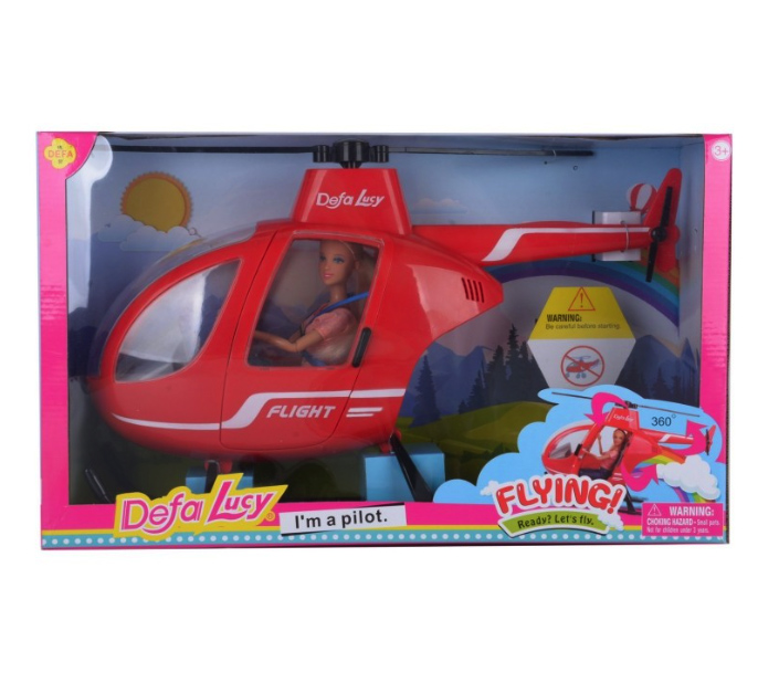 Набор с куклой Полёт на вертолёте, со световыми и звуковыми эффектами, 28, 5 см, DEFA,  - купить со скидкой