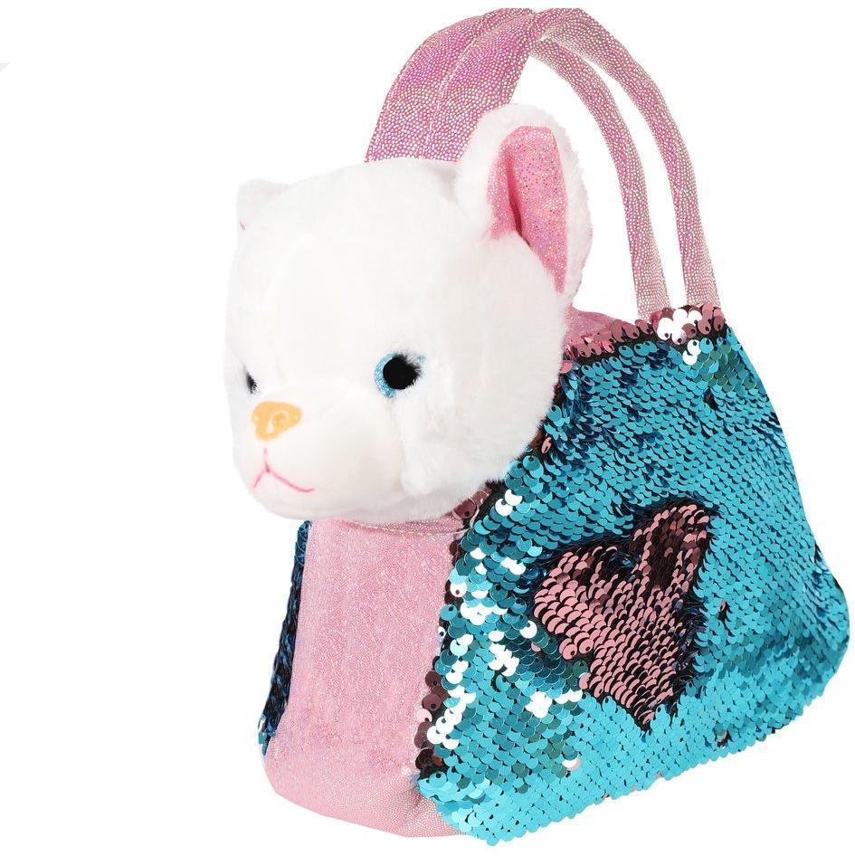 Купить Мягкая игрушка Fluffy Family Котенок, 19 см, в сумочке, с пайетками 681688,