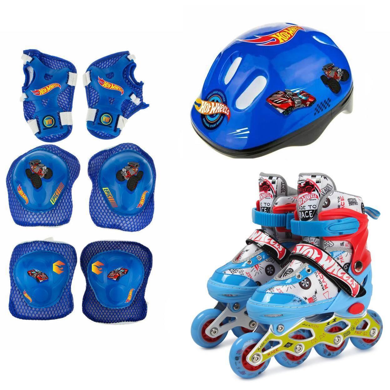 1toy Коньки роликовые Hot Wheels, колеса со светом, с защитой и шлемом, S (30-33) Т20000