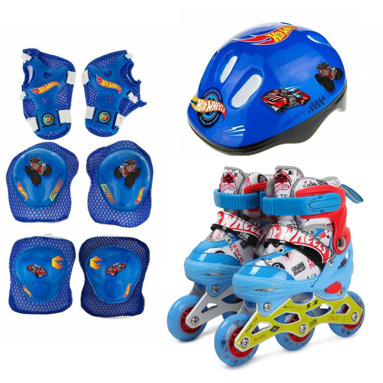 1toy Коньки роликовые Hot Wheels, колеса со светом, с защитой и шлемом, XS (26-29) Т19999