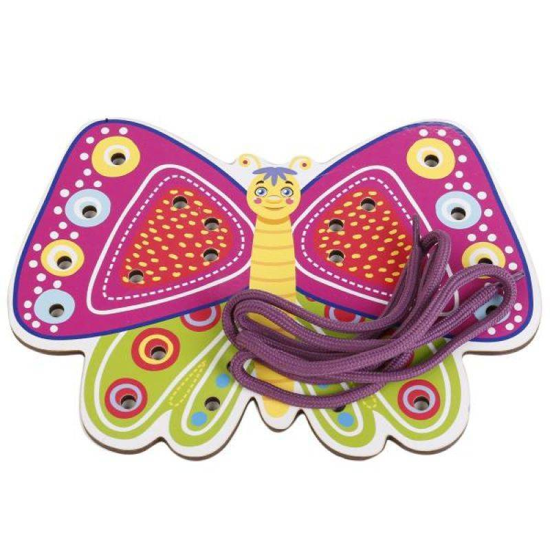WoodLandToys Шнуровка цветная Бабочка-2 017105 WoodLand