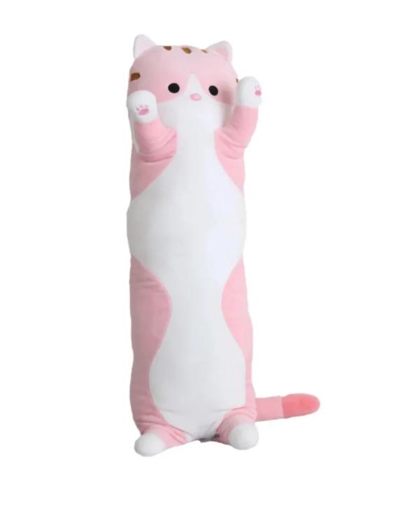 Купить Мягкая игрушка-антистресс Кошка-обнимашка, Кошка-батон, длинный кот розовый 110 см, wellywell,