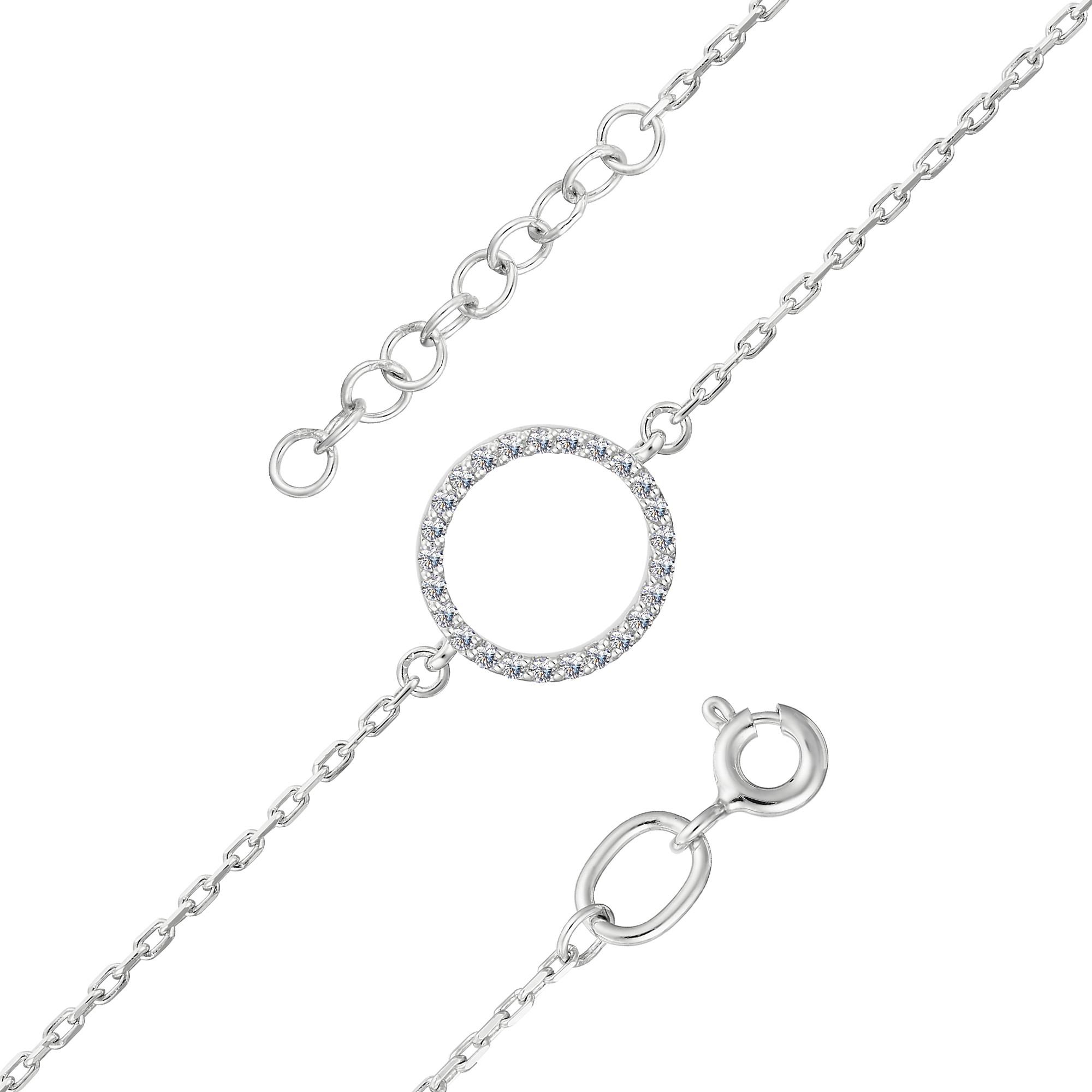 Браслет женский АЛЬКОР 5145-200 из золота, бриллиант, регулируемый