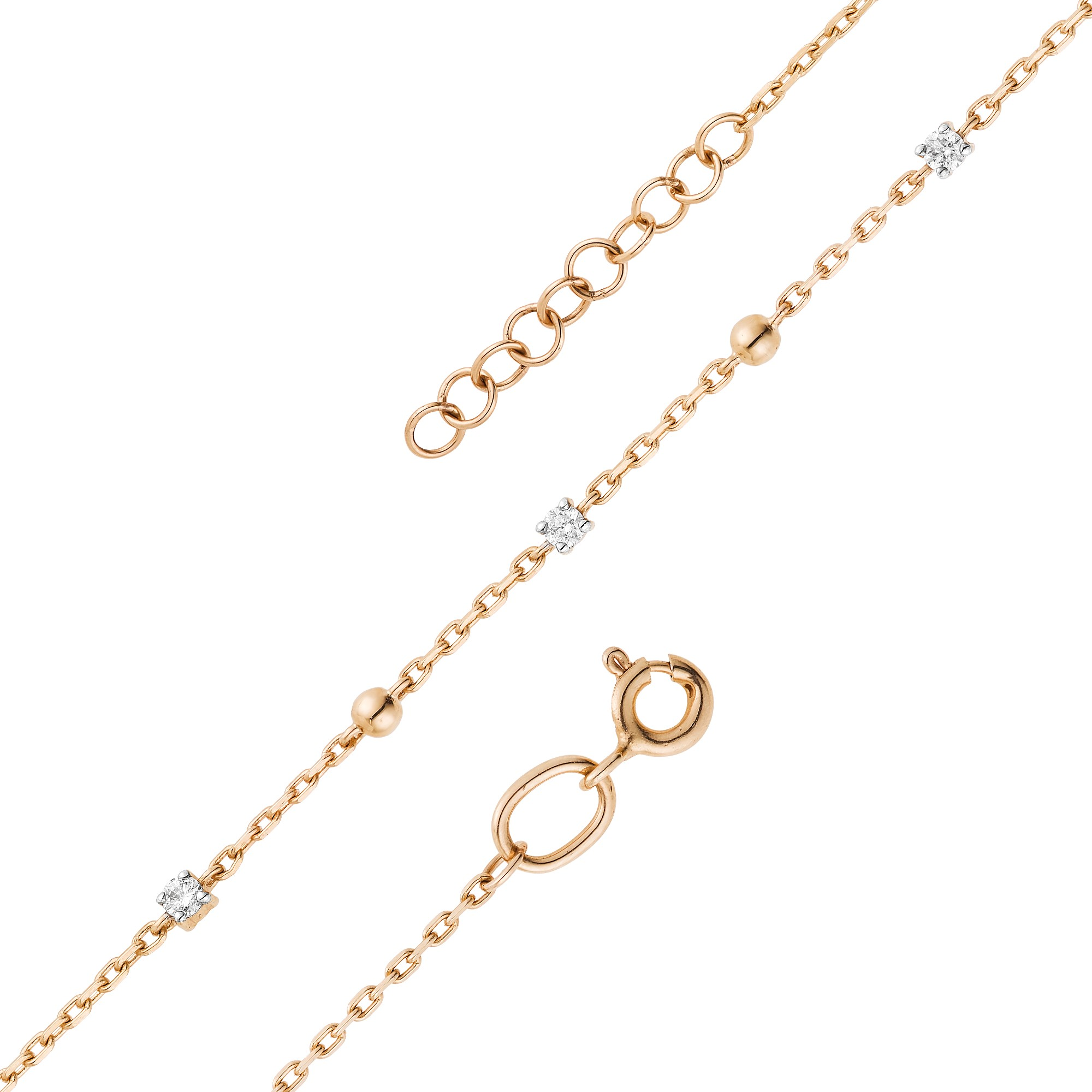 Браслет женский АЛЬКОР 53192-100 из золота, бриллиант, регулируемый