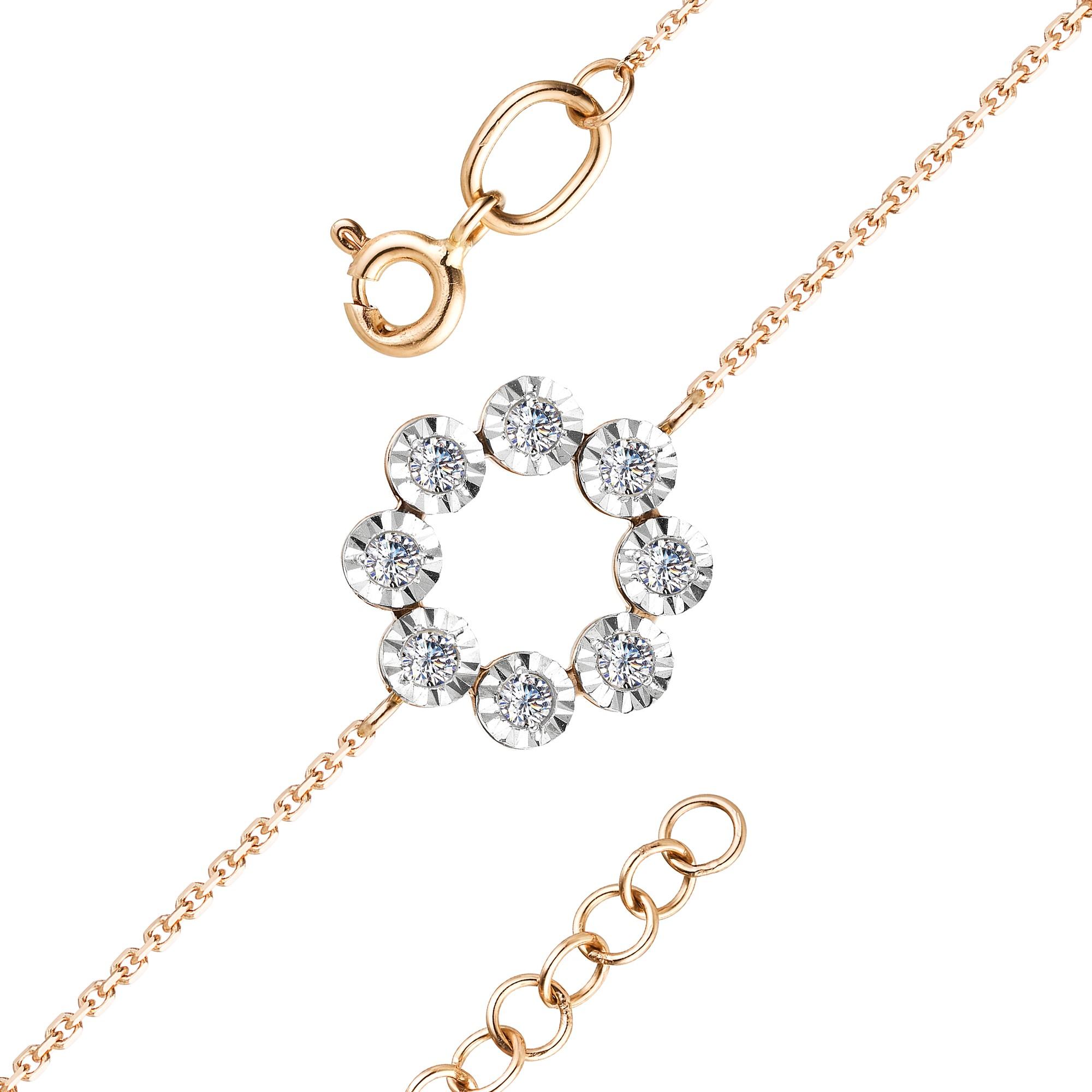 Браслет женский АЛЬКОР 53232-100 из золота, бриллиант, регулируемый