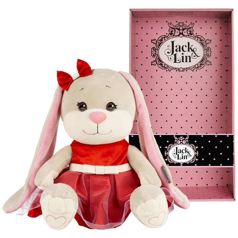 MaxiToys Мягкая игрушка - Зайка Jack&Lin в нарядном красном платье, 25 см