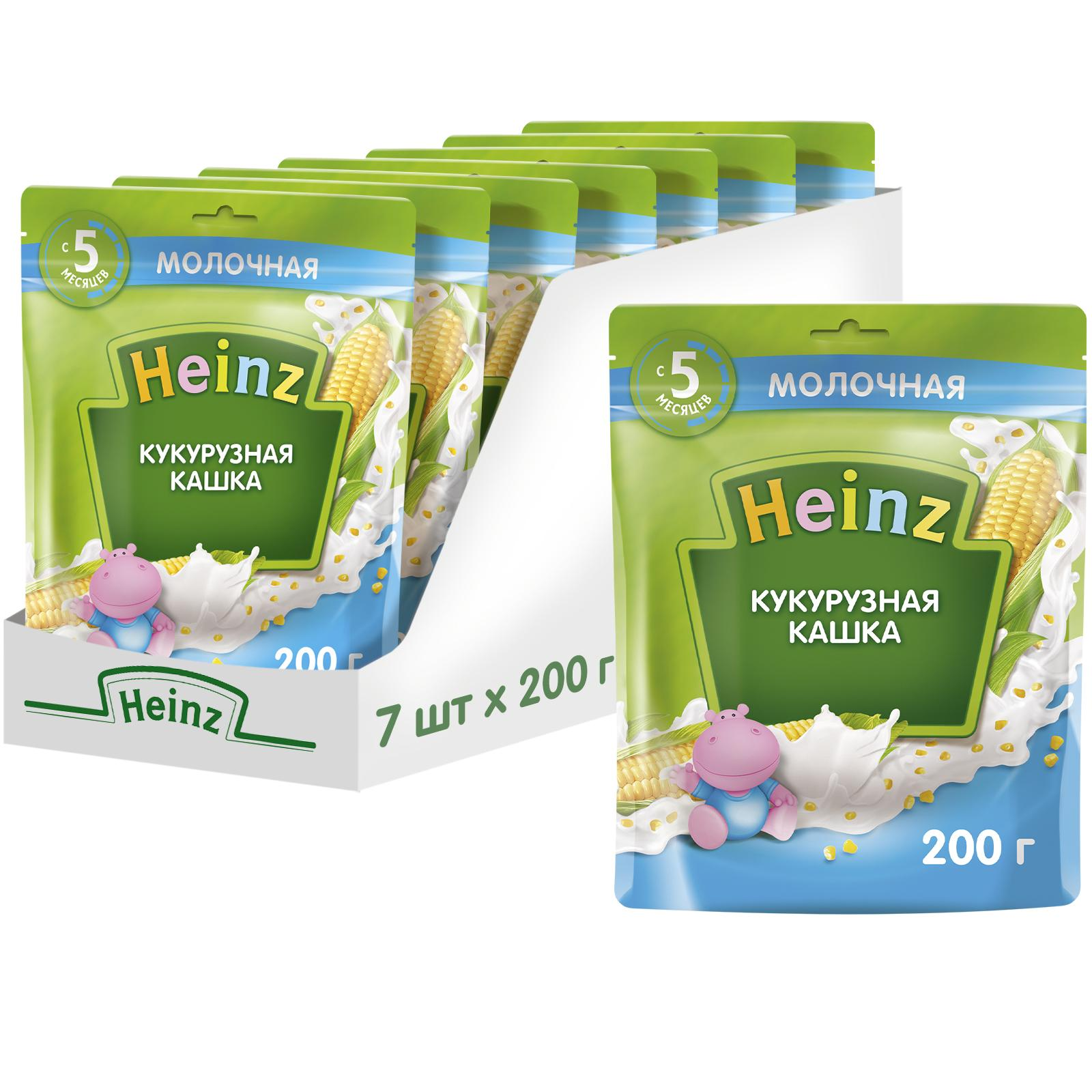 Купить Каша молочная Heinz Кукурузная с 5 мес. 200 г, 7 шт.,
