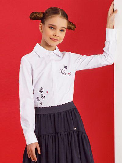 Купить 29503-434, Блуза для девочек Noble People цв. белый р.128,