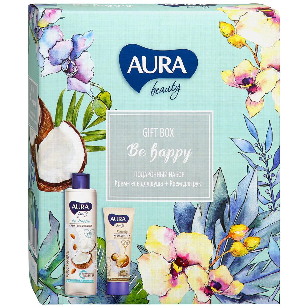 Купить Набор косметический Aura Крем-гель для душа Кокос и миндаль 250мл+Крем для рук 75 мл