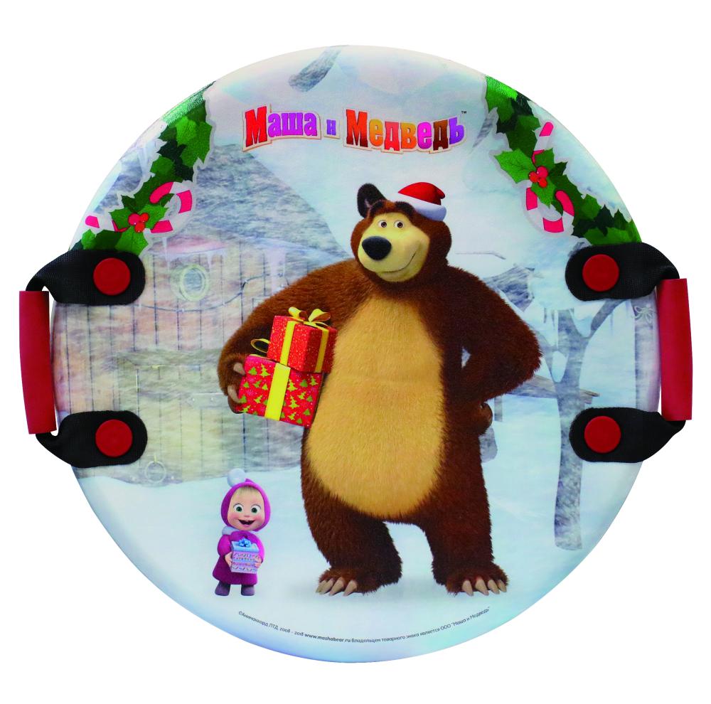 1TOY Ледянка Маша и Медведь 54 см, круглая с плотными ручками Т13885