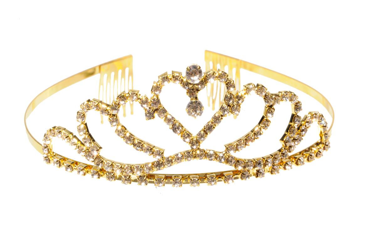 Хрустальная диадема COSY со стразами золото