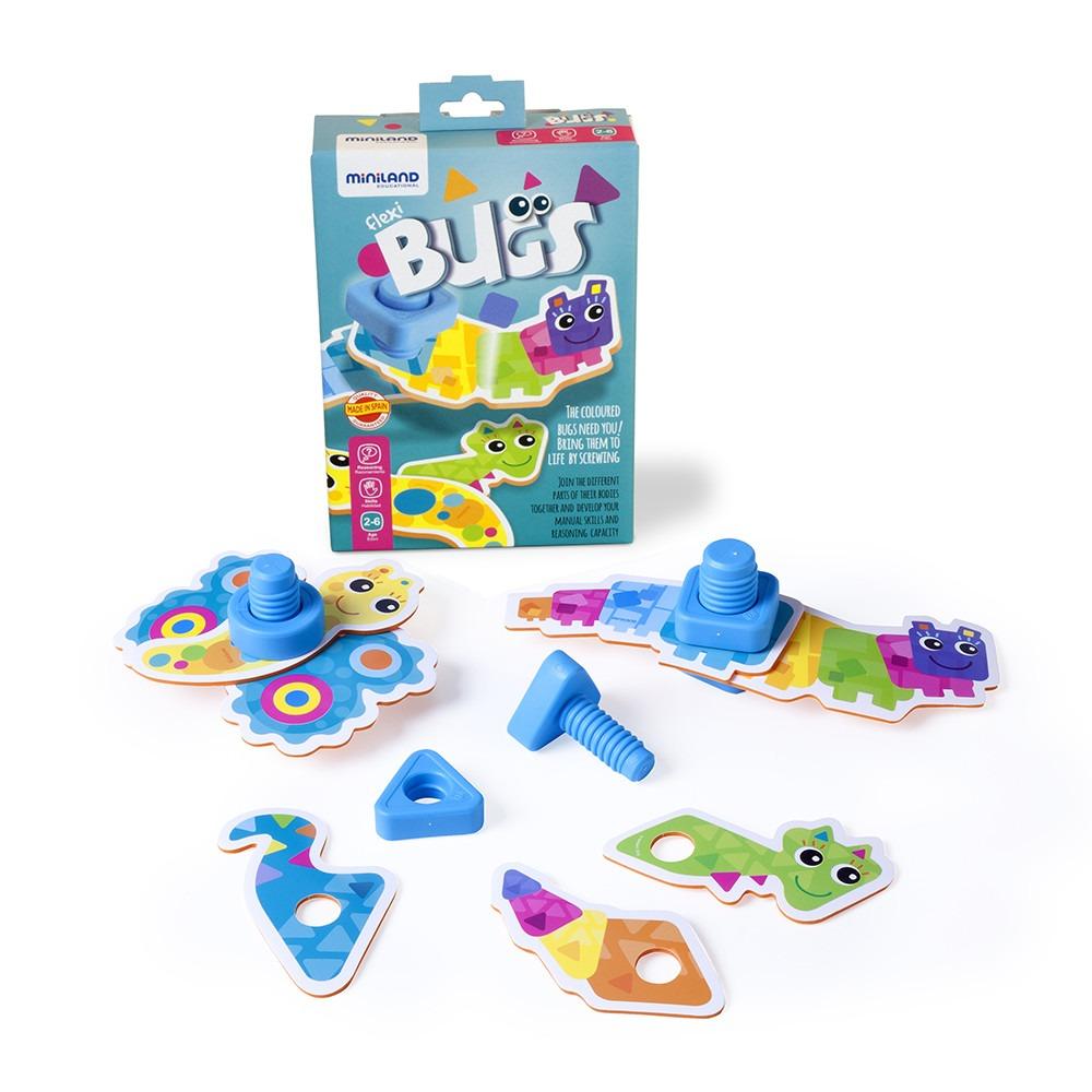 Купить Конструктор Miniland Гибкие жуки. Flexi bugs, 31 деталь,