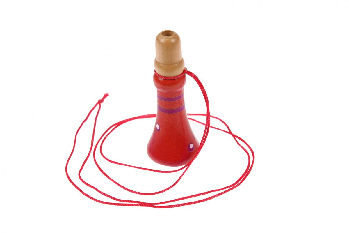 Дудочка деревянная на подвесе 1, цвет: красный