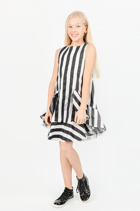 Купить 11908GJC2501, Платье для девочки Gulliver, цв.чeрный, р-р 140,