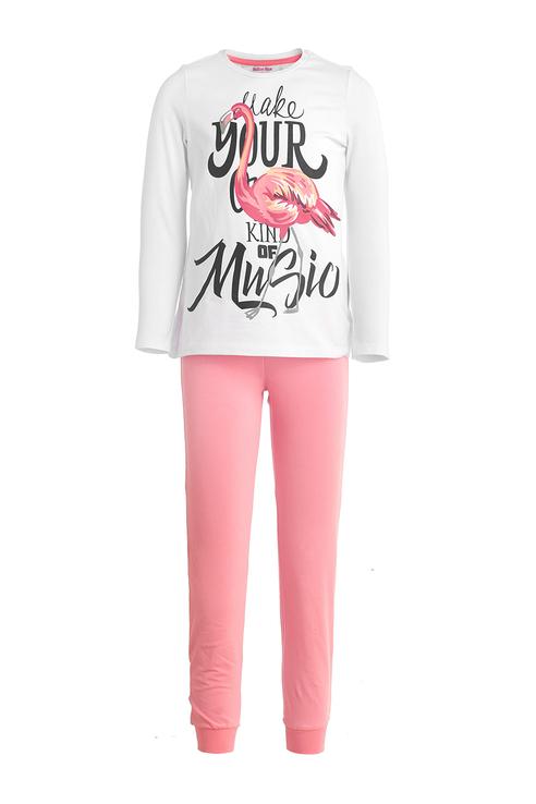 Купить 119BBGU97010000, Пижама для девочки Button Blue, цв.белый, р-р 128, Пижамы для девочек