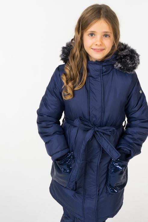 Купить 218BBGC45071000, Пальто зимнее для девочки Button Blue, цв.синий, р-р 128,