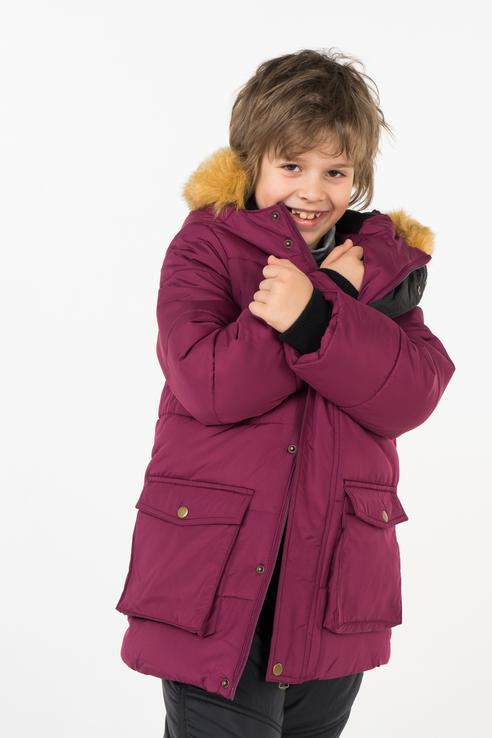 Пальто зимнее для мальчика Button Blue, цв.красный,