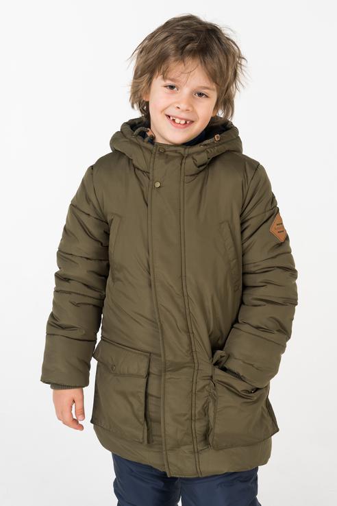 Пальто зимнее для мальчика Button Blue, цв.хаки,