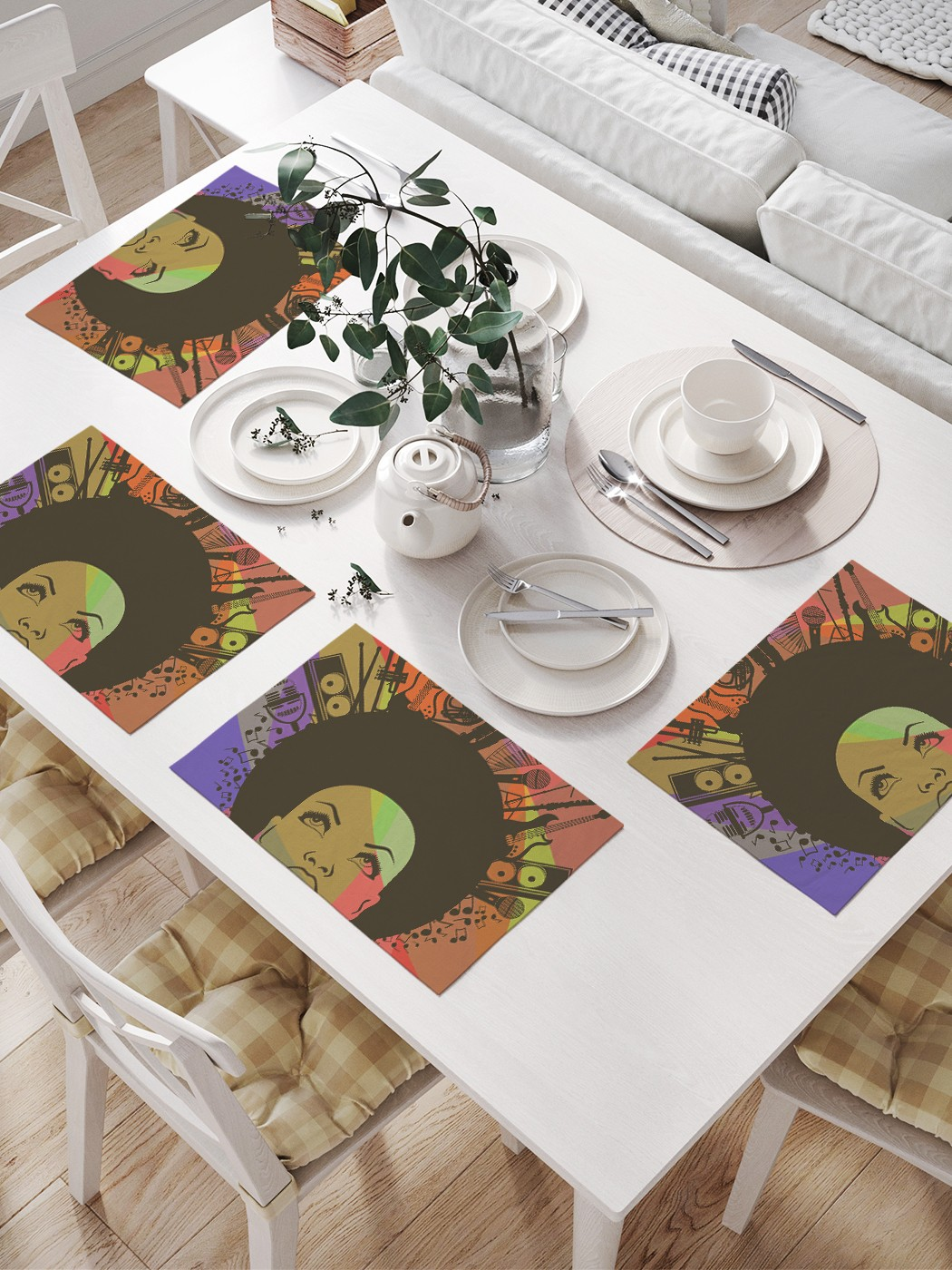 Комплект салфеток для сервировки стола «Мысли о музыке» (32х46 см, 4 шт.)