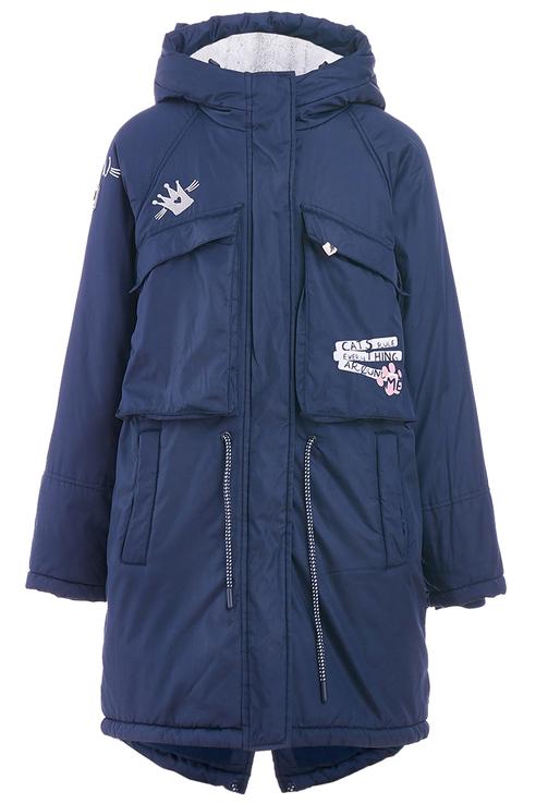 Купить 219BBGC45041000, Пальто для девочки Button Blue, цв.синий, р-р 128,