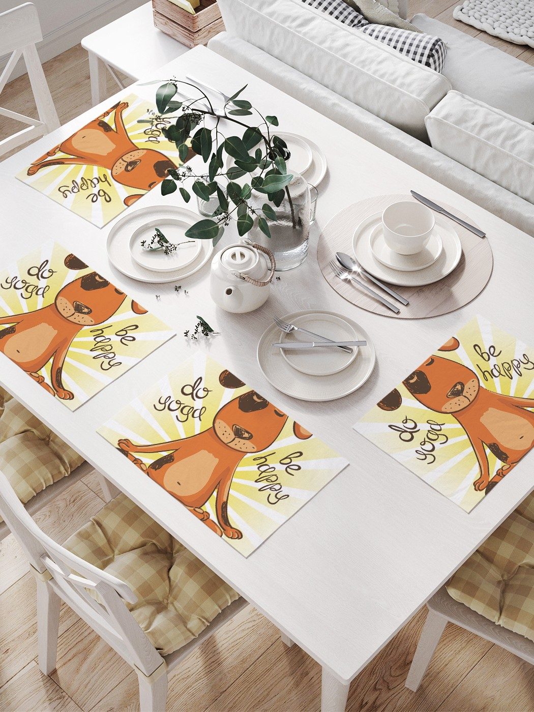 Комплект салфеток для сервировки стола «Собачья йога» (32х46 см, 4 шт.)