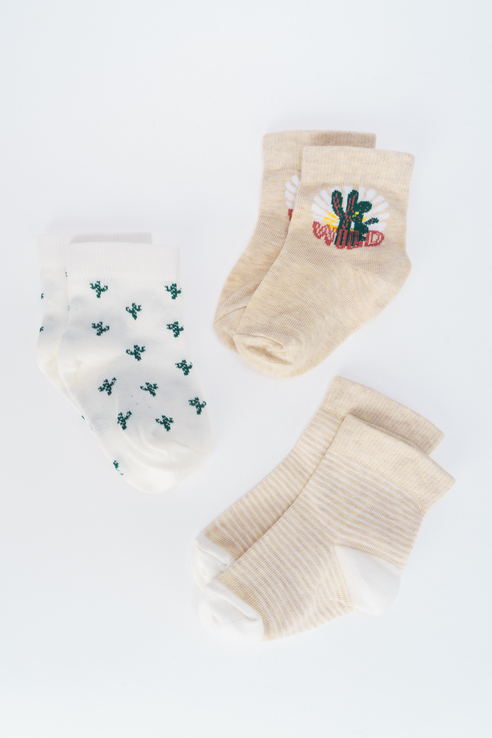 Носки детские 3 пары Artie, цв. бежевый