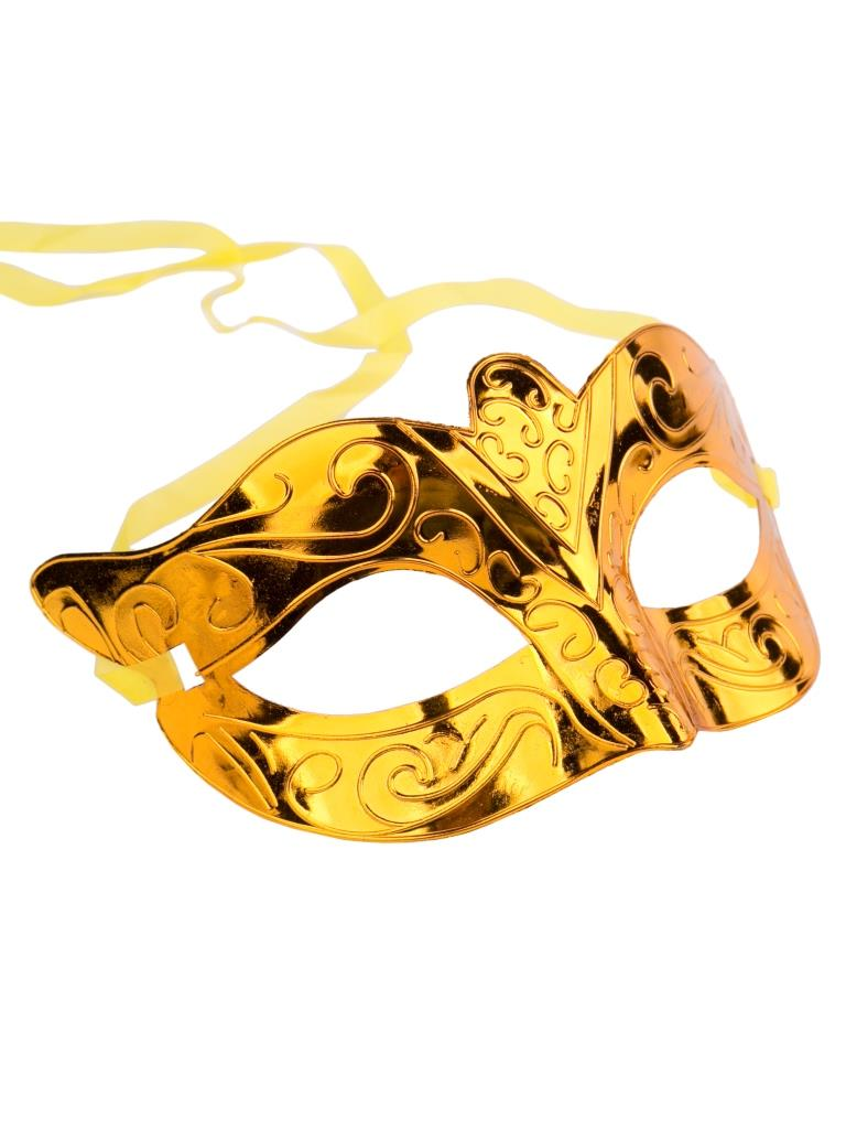 Карнавальная маска Блестящая золотая Феникс-Презент