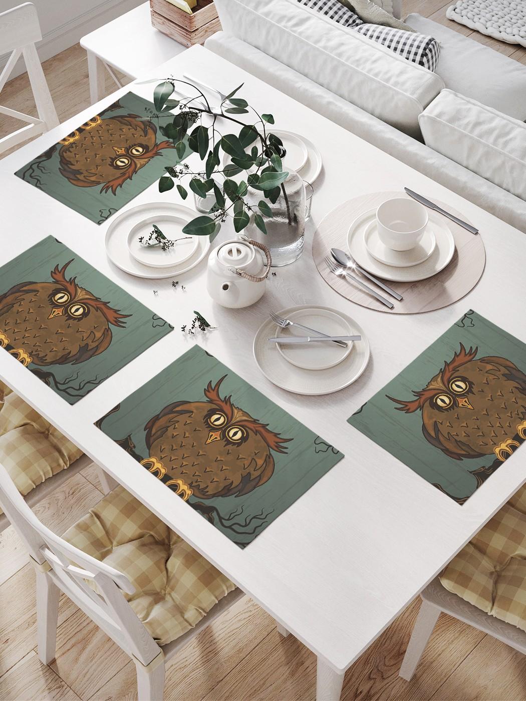 Комплект салфеток для сервировки стола «Испуганная сова» (32х46 см, 4 шт.)