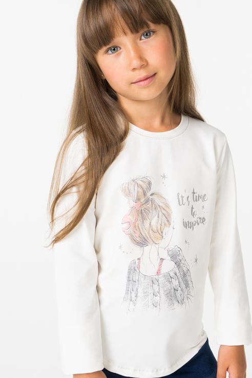Купить 416067, Лонгслив для девочки Boboli, цв.белый, р-р 128,