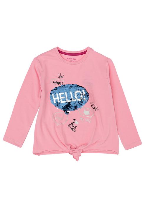 Купить 219BBGC12054200, Лонгслив для девочки Button Blue, цв.розовый, р-р 128,