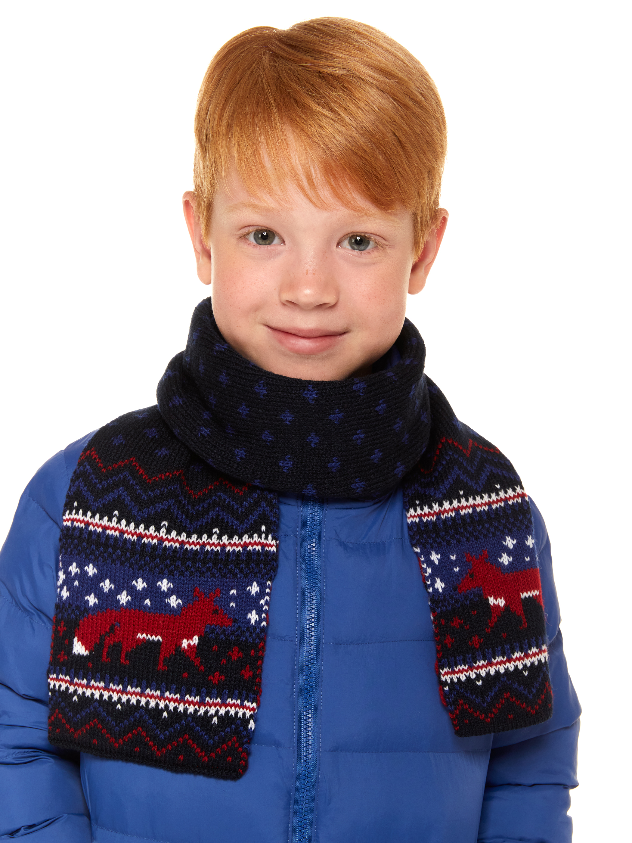 Шарф детский Scandica, 247SCA5X5 363B, темно синий/светло