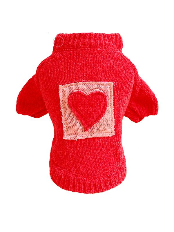 Свитер для собак Petcircle сердце, унисекс, красный,