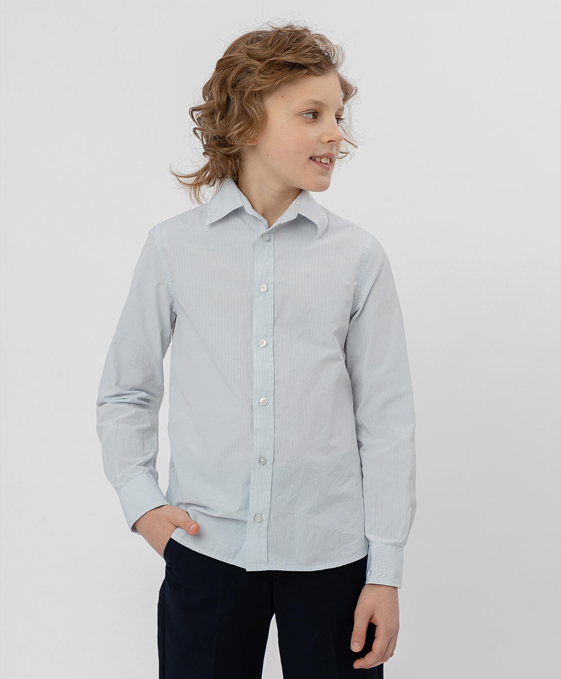 Серая рубашка в полоску BUTTON BLUE, модель