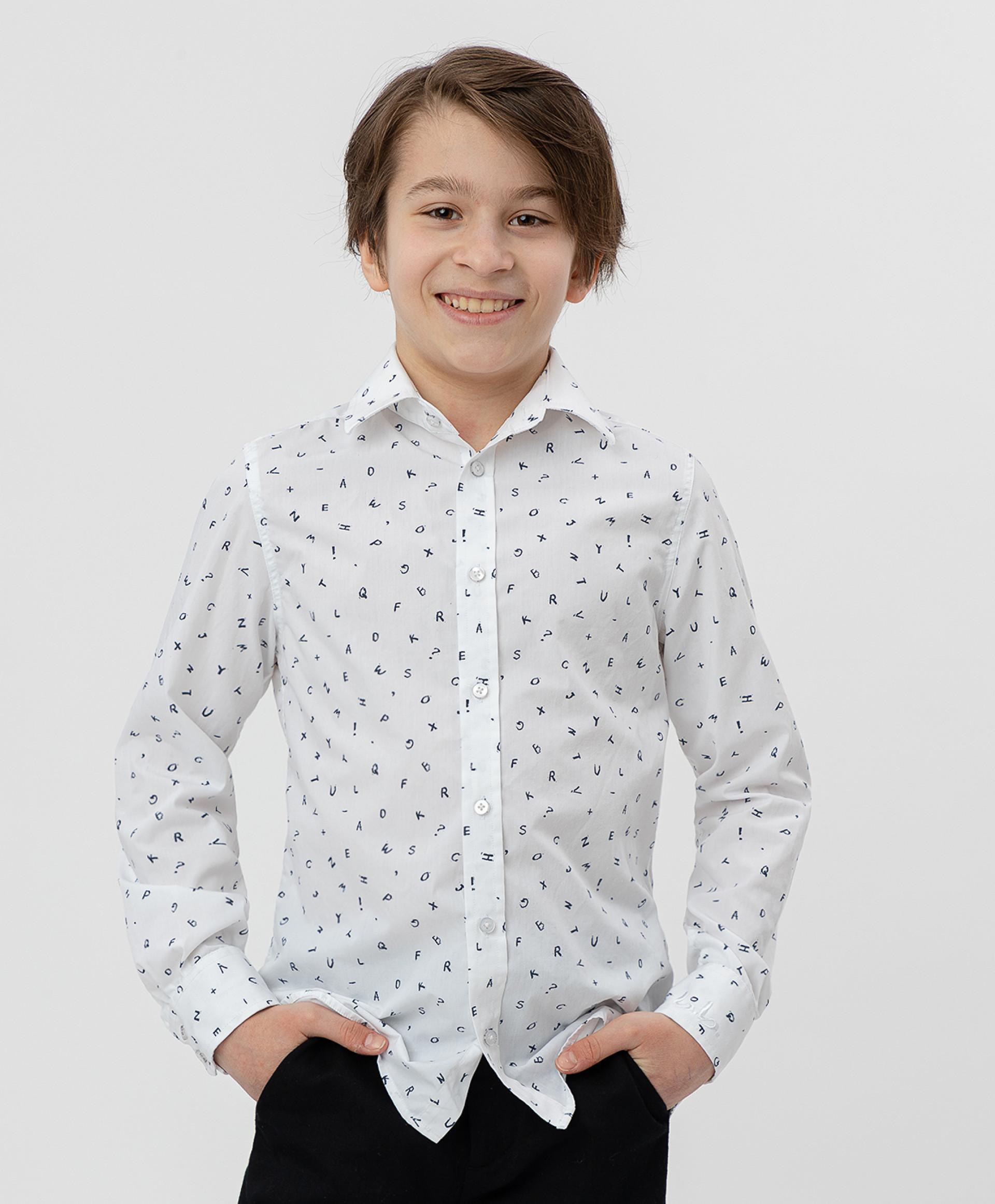 Белая рубашка с принтом BUTTON BLUE, модель