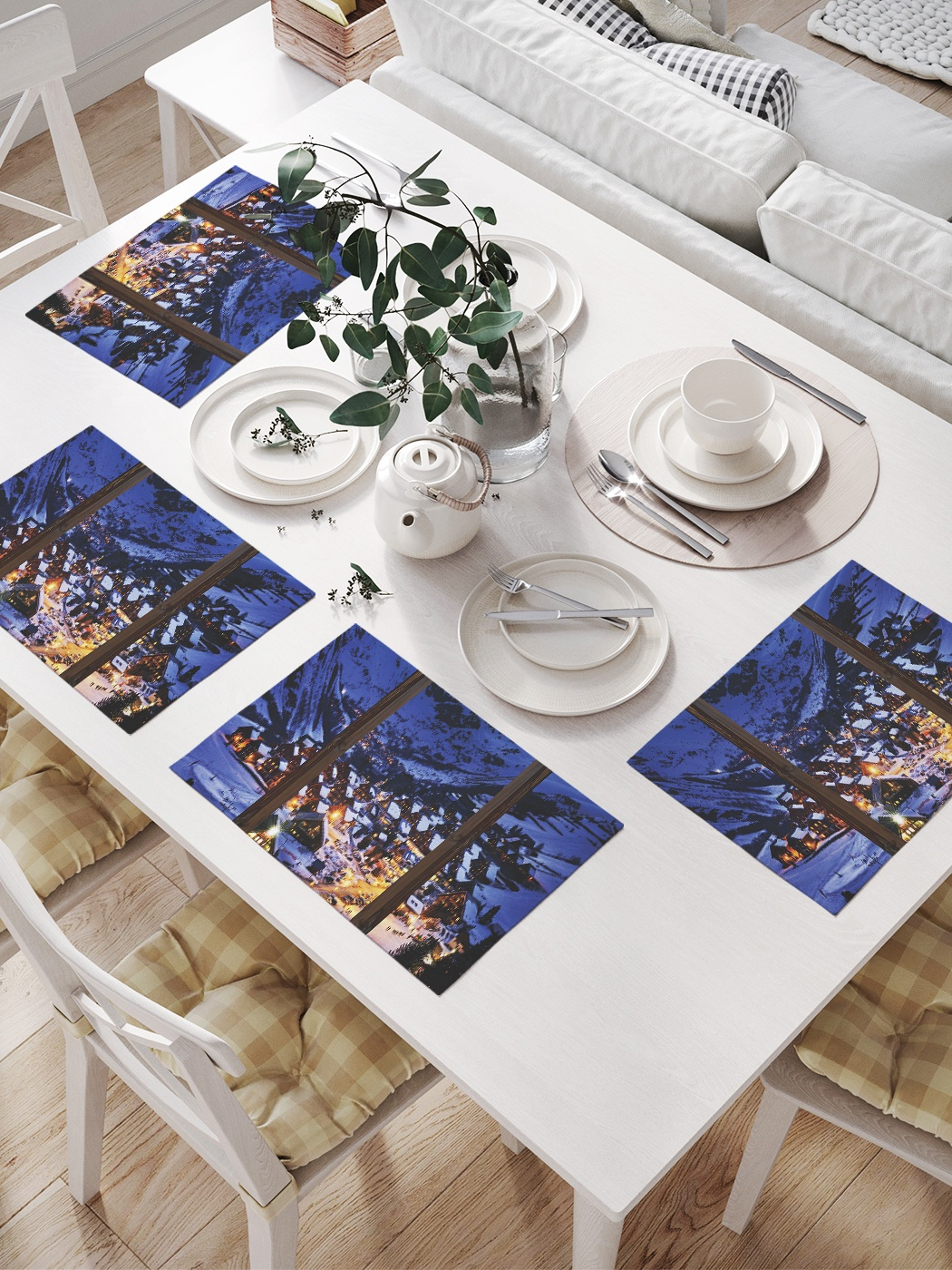 Комплект салфеток для сервировки стола «Окно Рождества» (32х46 см, 4 шт.)