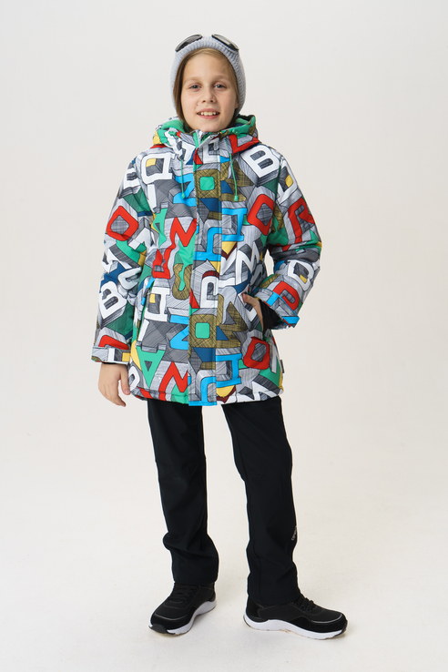 Купить 219BBBA45010013, Куртка для мальчика Button Blue, цв.мультиколор, р-р 128,