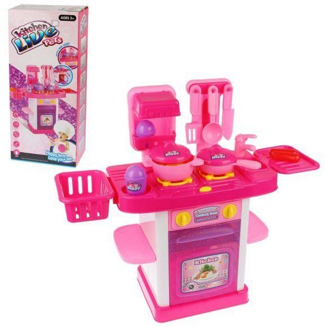Купить Детская кухня Shantou Gepai B1808094 с аксессуарами, со световыми и звуковыми эффектами
