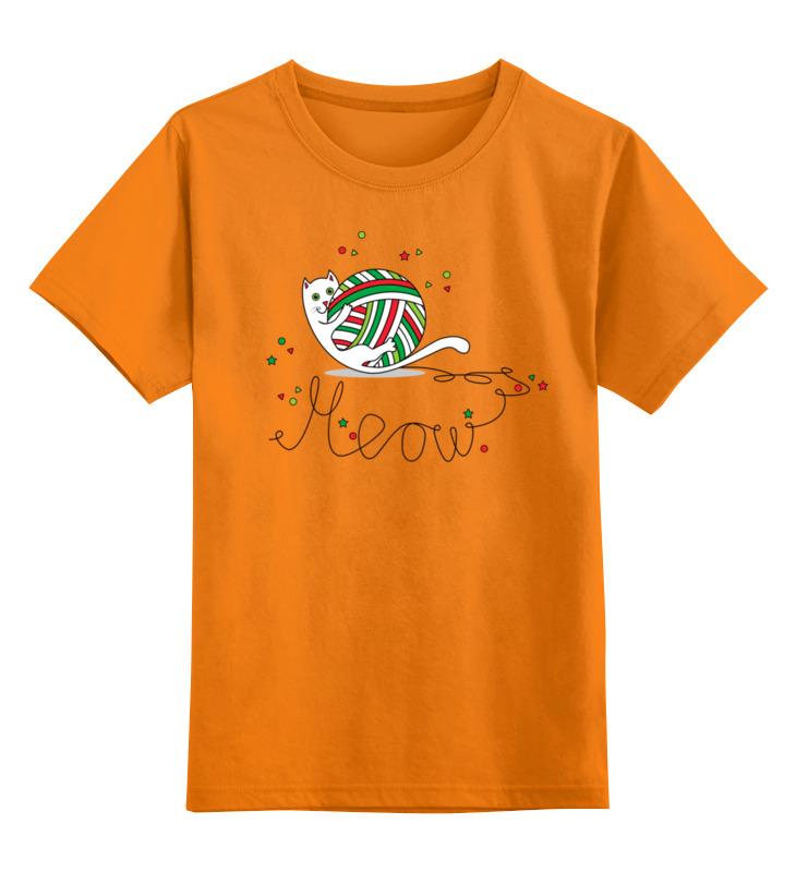 Детская футболка Printio Забавный новогодний котенок цв.оранжевый р.140 0000003013780 по цене 990