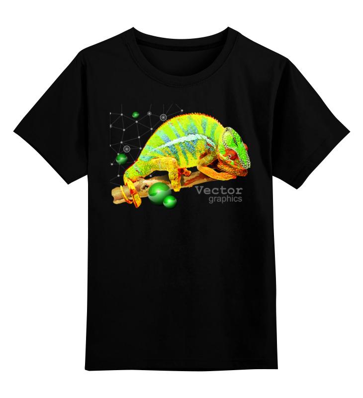 Детская футболка Printio Хамелеон. векторная графика. цв.черный р.140 0000003069112 по цене 990