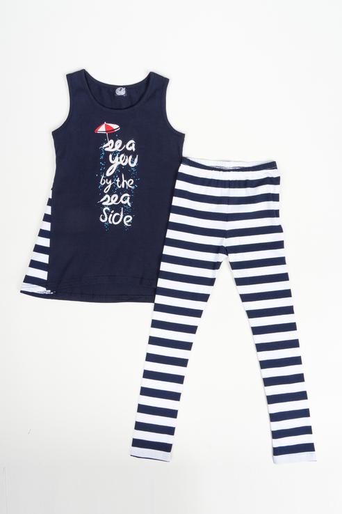 Комплект футболка и лосины для девочки Апрель, цв.синий, р-р 128