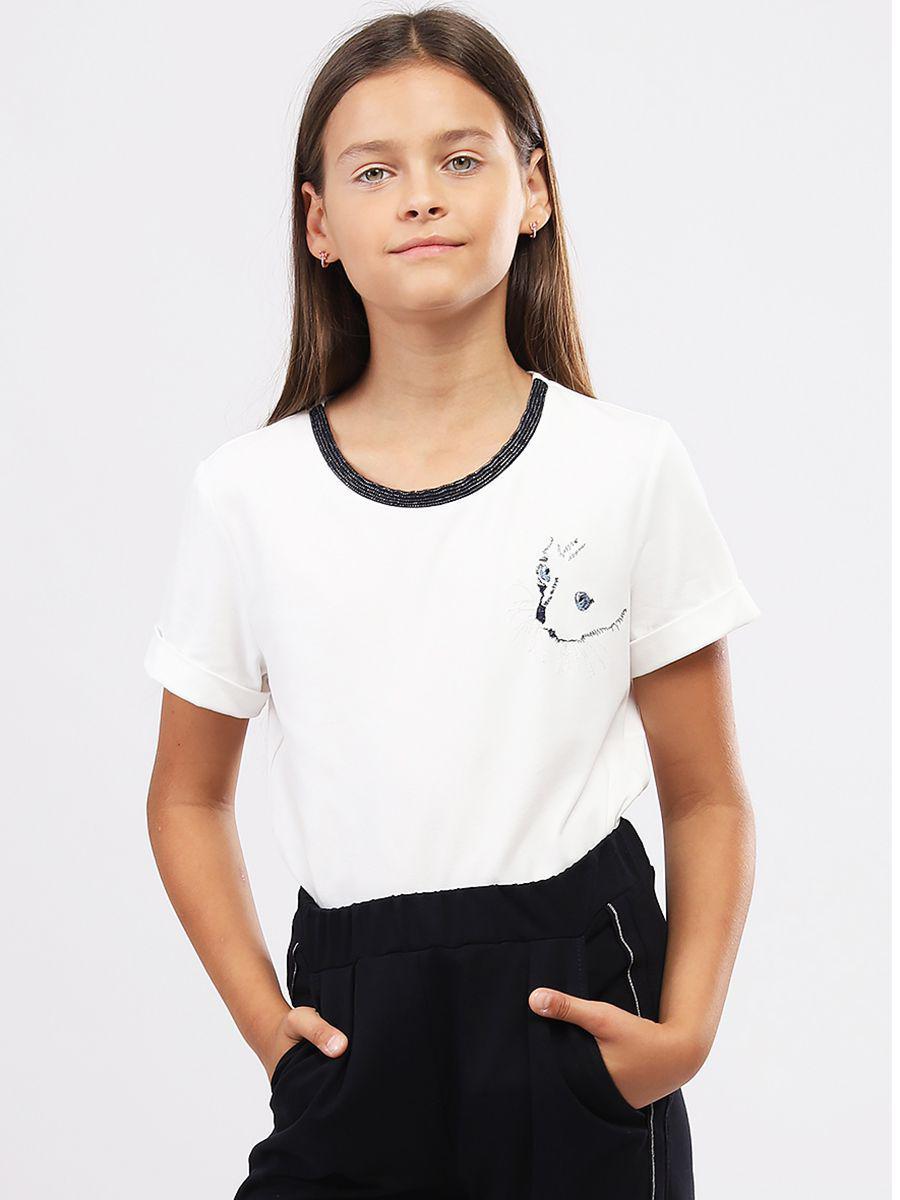 Купить 29516-274-9, Футболка для девочек Noble People цв. белый р.140,