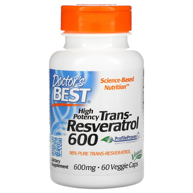 Транс-ресвератрол высокой концентрации Doctor's Best 600 мг 60 капсул  - купить со скидкой