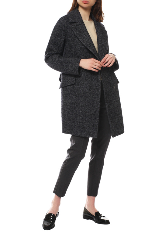 Пальто женское Paradox Л-385 ТВИД-518 черное 50-170
